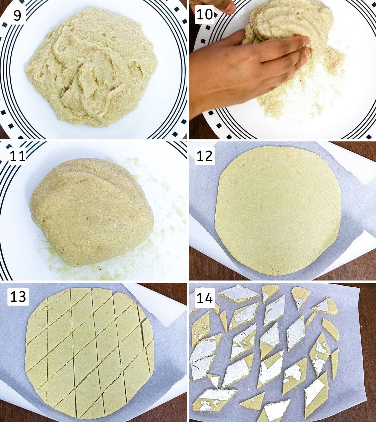 Collage of 6 images showing cooked dough, kneading, ready dough, rolled on parchment paper, cut into diamonds, decorated with varak