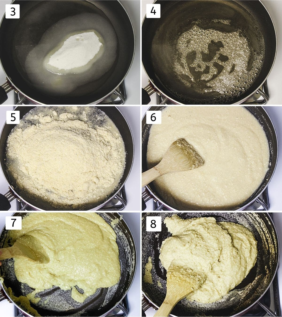 Collage of 6 images showing sugar, water in a pan, simmering syrup, adding cashew powder, mixing, cooking and ready dough
