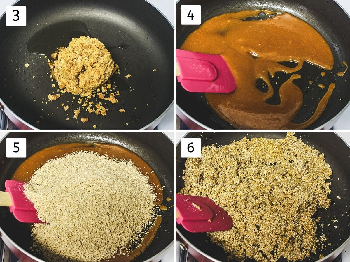 collage of 4 images. shows jaggery, ghee added and melted, adding and mixing ground sesame seeds