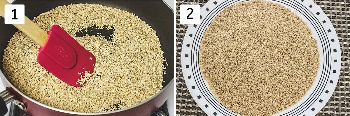 collage image of roasting sesame seeds. Shows roasting in a pan and cooling in a plate