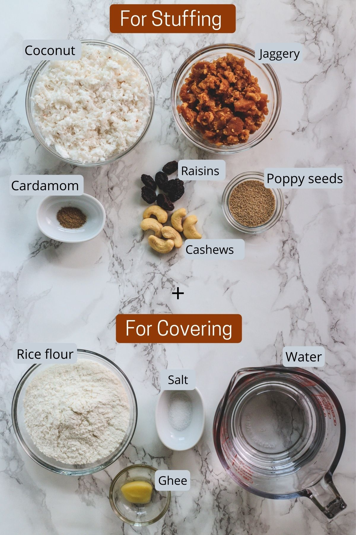 image of ingredients using in making stuffing and outer covering dough for ukadiche modak