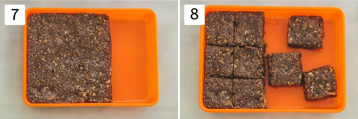 Collage of 2 steps showing burfi mixture in a greased container, cut into suqares.