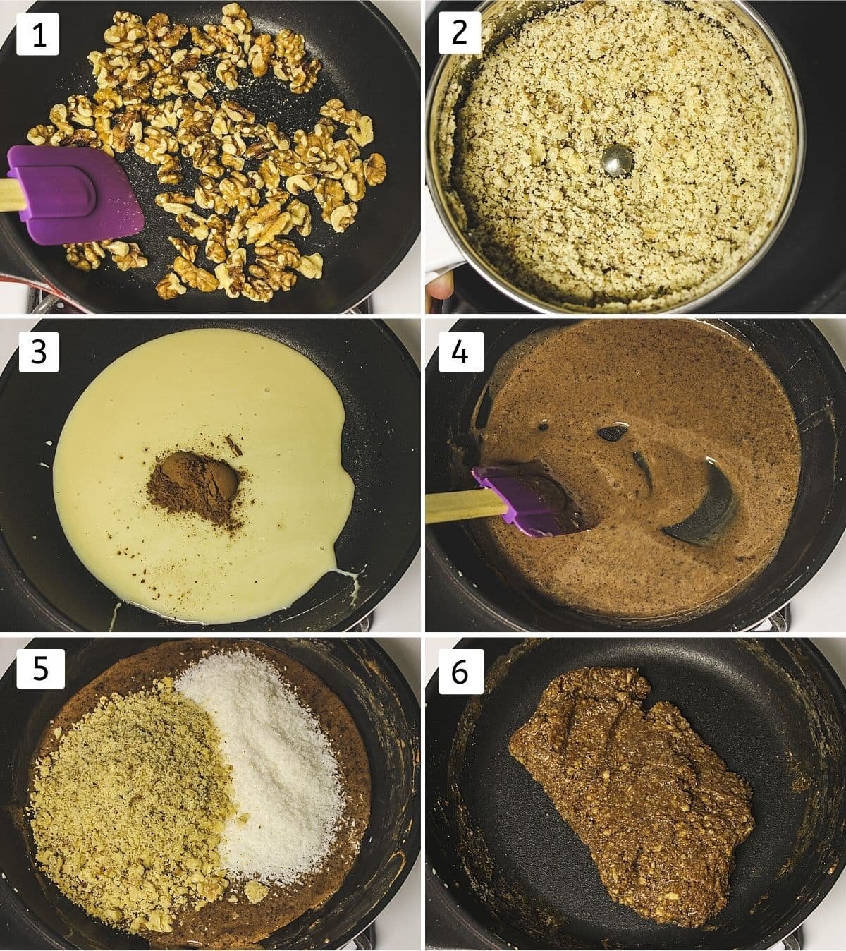 collage of 6 steps showing roasting walnuts, coarsely ground, condensed milk and cocoa powder in a pan, mixed, walnut, coconut added, cooked.