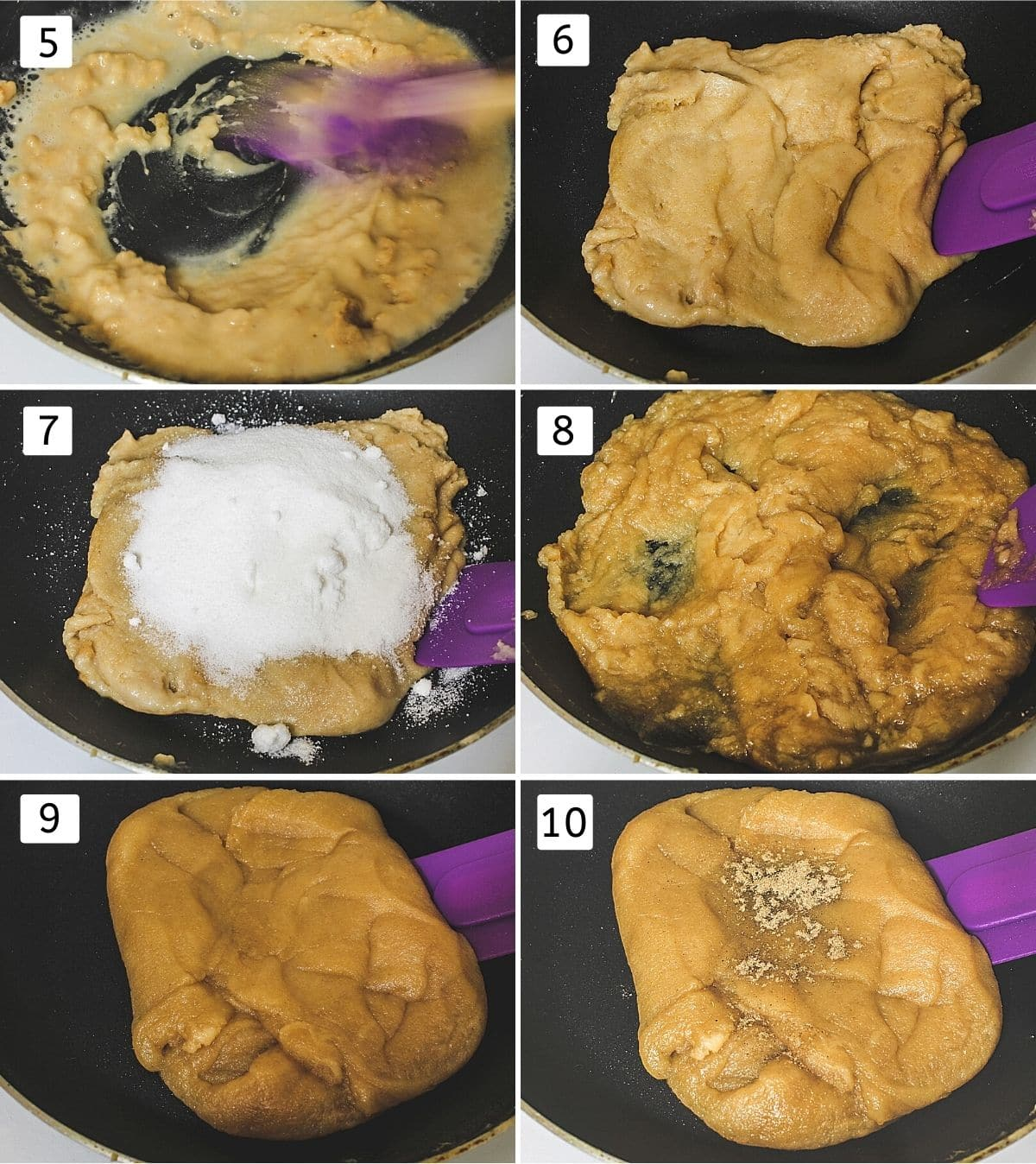 Collage of 6 images showing water added, thick halwa, sugar added, melted, halwa consistency, added cardamom