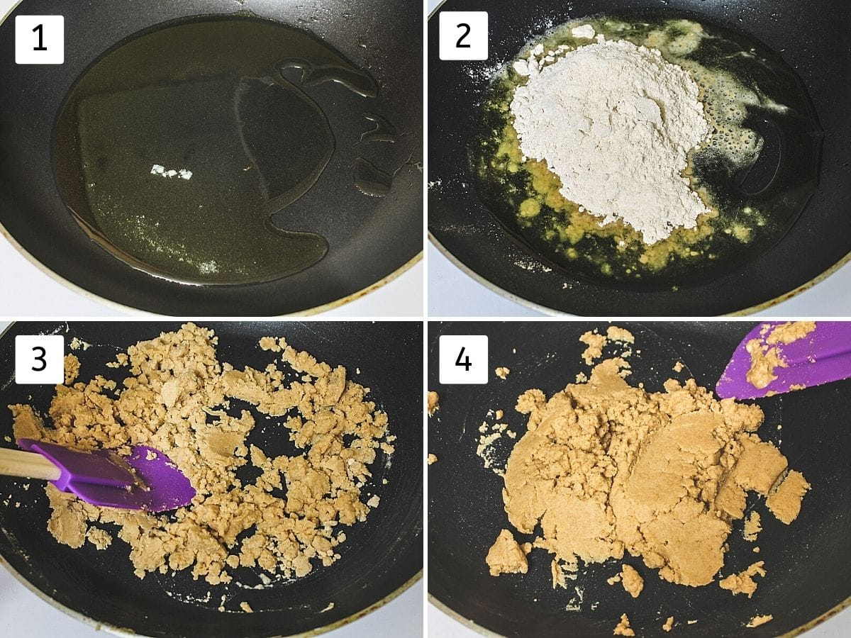Collage of 4 images showing ghee in a pan, flour added, mixing and roasted flour-ghee mixture