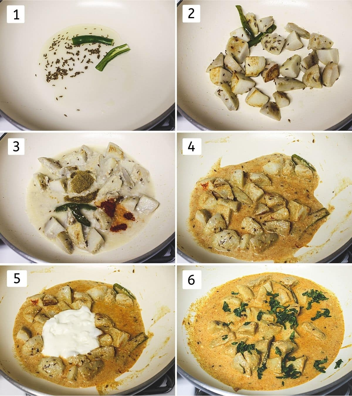 collage of 6 steps showing cumin in the oil, frying arbi, adding cashew paste, spices, mixed, adding yogurt, adding cilantro