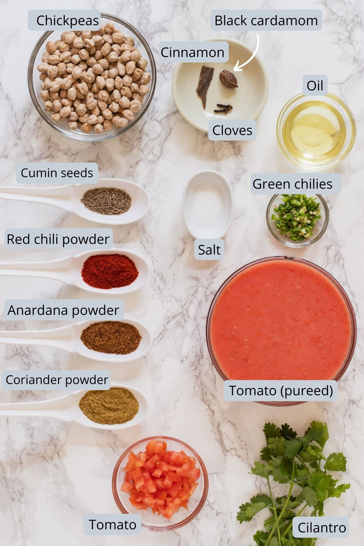 Ingredients used in Jain chole includes chickpeas, spices, oil, salt, green chili, tomato, cilantro