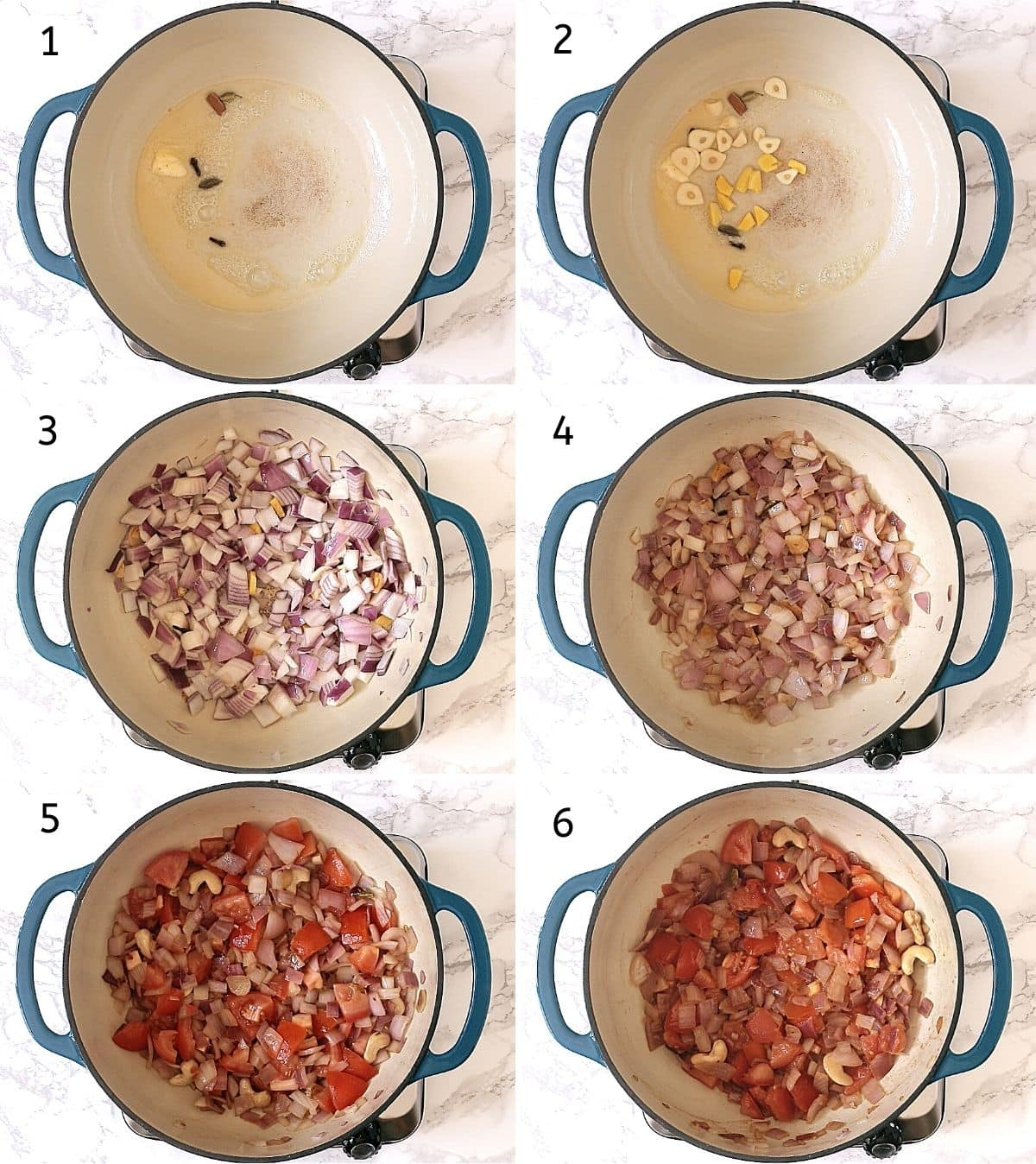 Collage of 6 steps showing spices in butter, cooking ginger garlic, added onion, softened onion, added tomato, cooked mixture