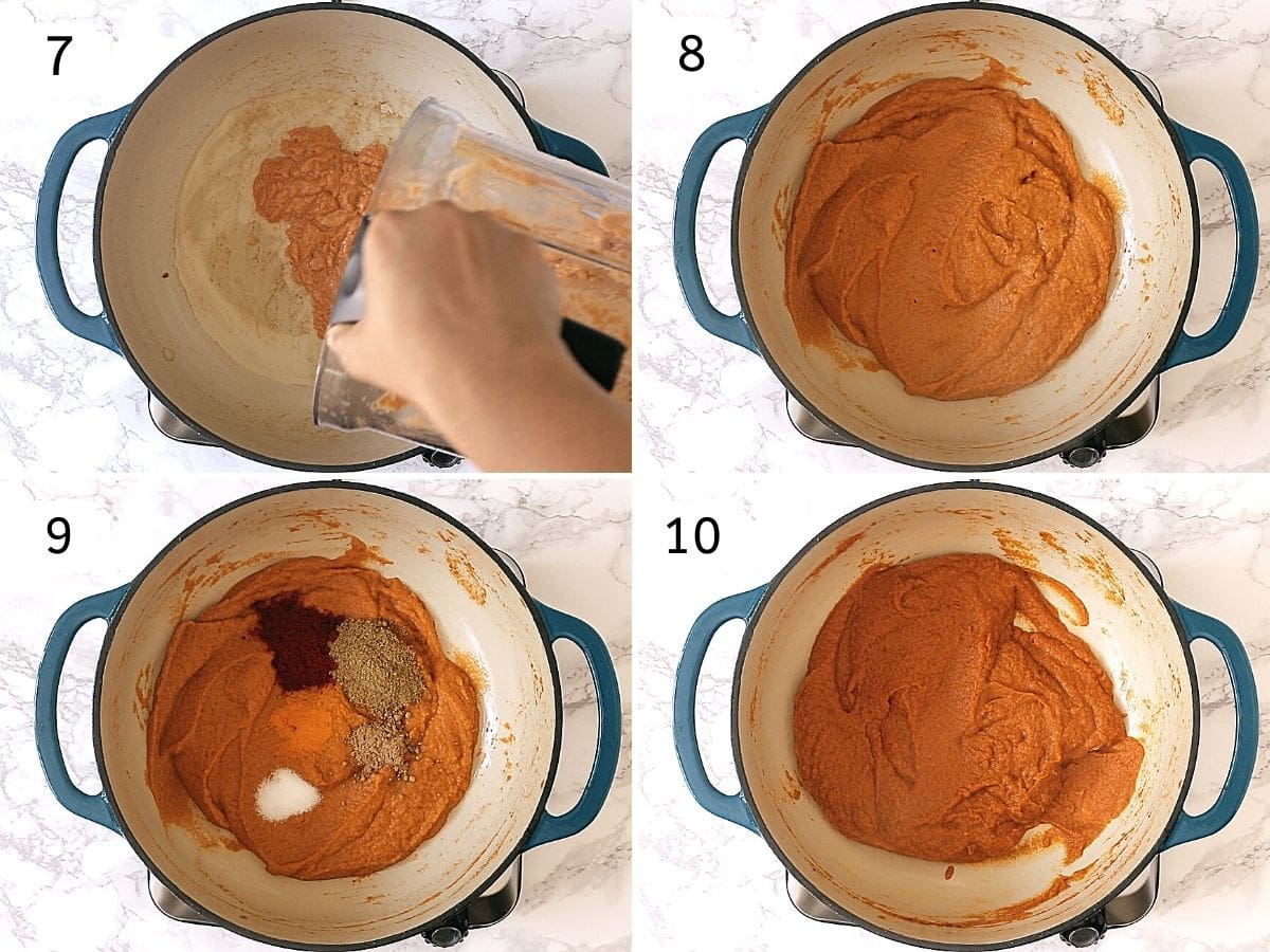 Collage of 4 steps showing adding paste, cooked paste, adding spice powders, mixed well.