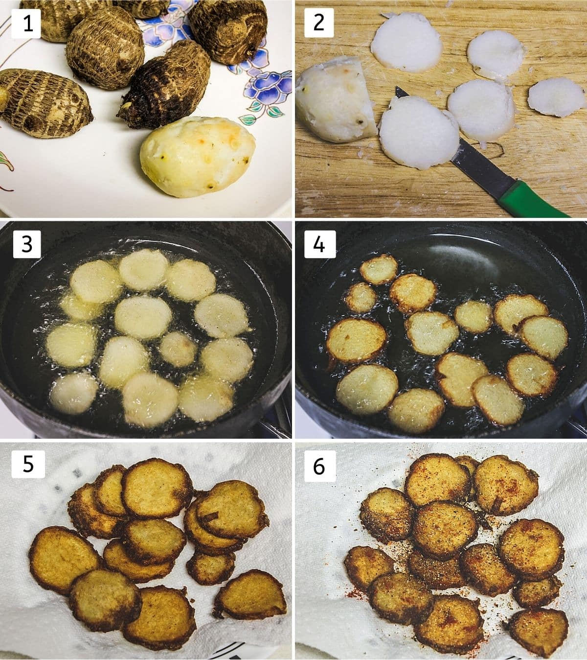 collage of 6 steps showing boiled arbi, sliced, adding into hot oil, crisp, removed to a plate, sprinkle spices