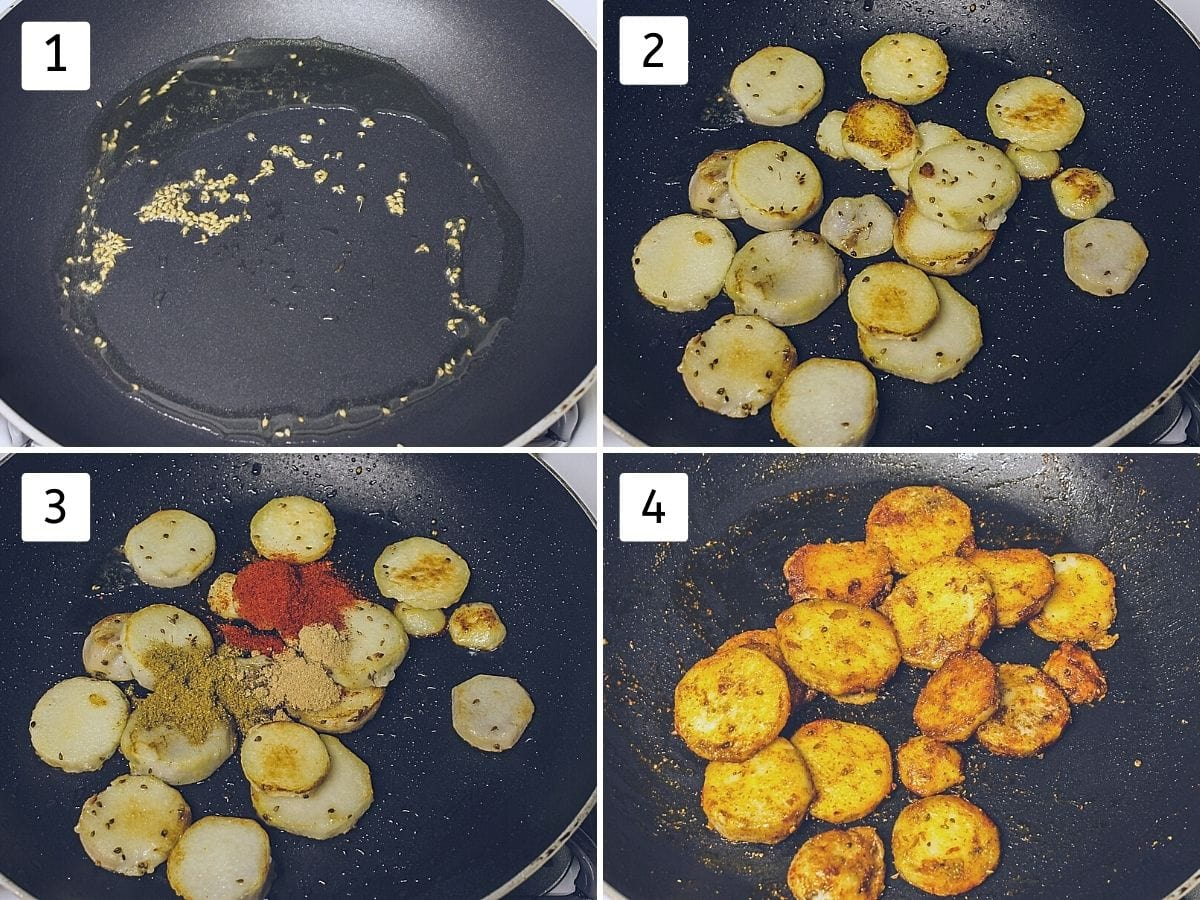 Collage of 4 steps showing ajwain in hot oil, cooking sliced arbi, adding spices and mixed together