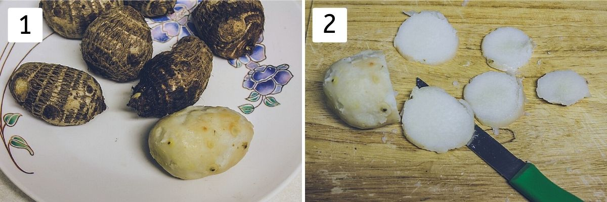 Collage of 2 steps showing boiled arbi in a plate and sliced arbi.