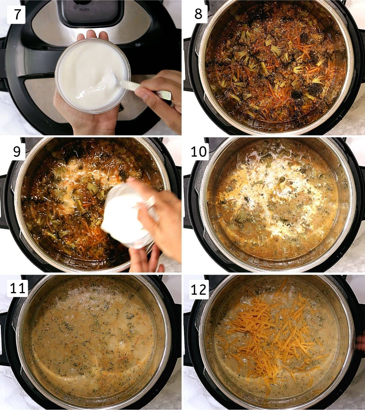 Collage of 6 steps showing making slurry, cooked soup mixture, adding slurry, adding cream, simmering, adding cheese.