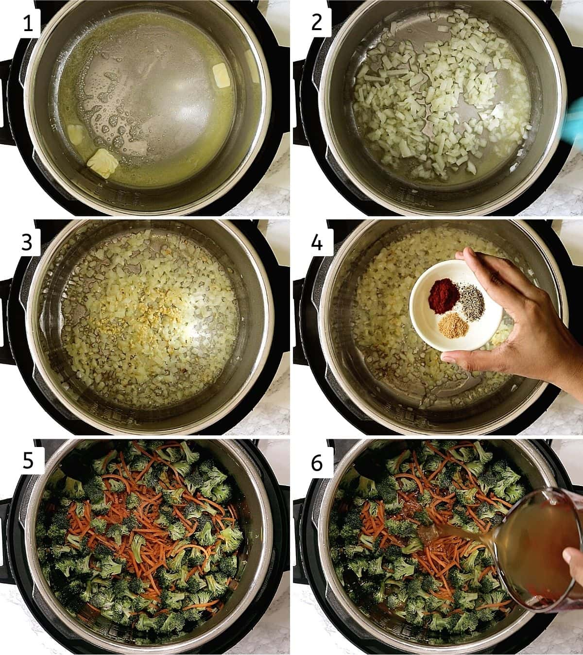 Collage of 6 steps showing melting butter, adding onion, adding garlic, adding spices, broccoli carrot added, adding stock.