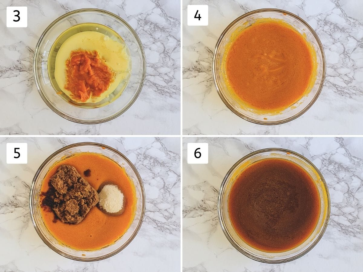 Collage of 4 steps showing wet ingredients in a bowl, whisked, adding both sugar, mixed.