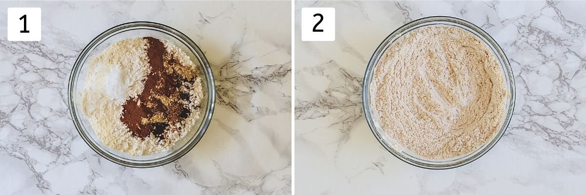 Collage of 2 steps showing dry ingredients in a bowl and mixed.