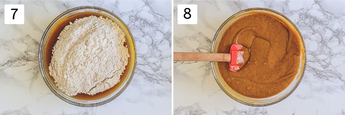 Collage of two steps showing adding dry to the wet and ready batter.