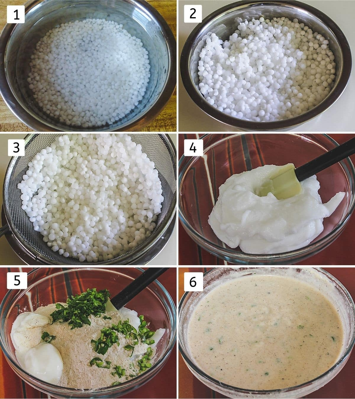 collage of 6 steps showing soaking sabudana, soaked sabudana, drained water, sabudana paste, rest ingredients added and batter