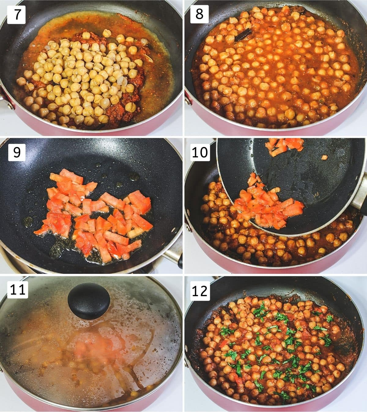 Collage of 6 steps showing adding boiled chickpeas, simmering, tempering with tomatoes, adding tadka, covered the pan, adding cilantro.
