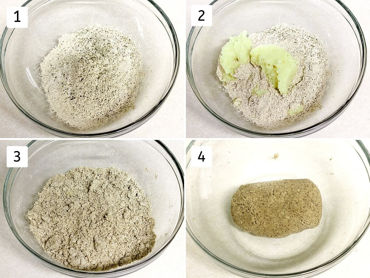 collage of 4 steps showing flour, salt, pepper in a bowl, added potato, mixed, ready dough