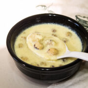Makhana kheer in a bowl with spoonful of take from the bowl and ready to eat.