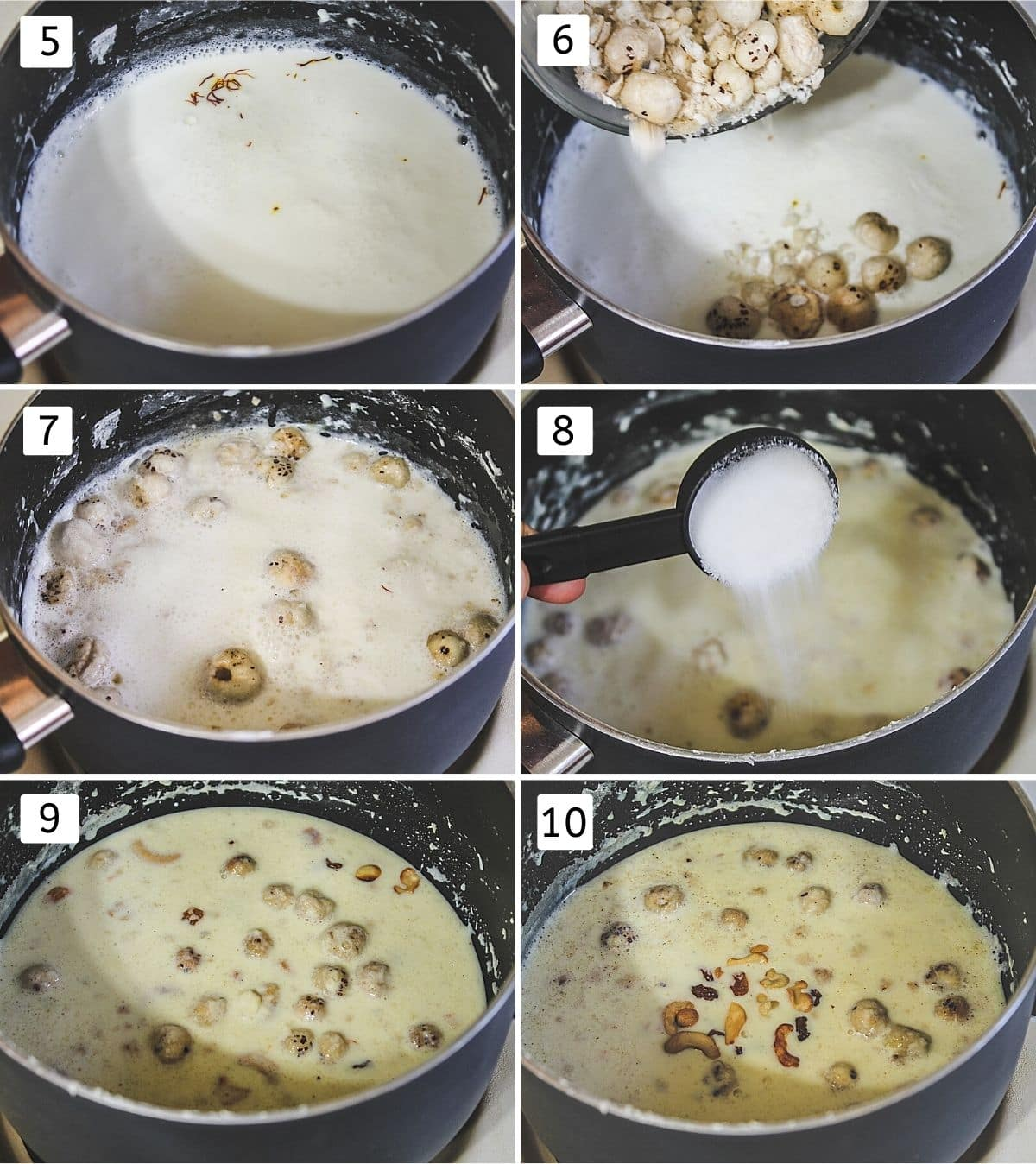 collage of 6 steps showing adding saffron and makhana in milk, simmered kheer, adding sugar, adding cardamom, adding cashews.