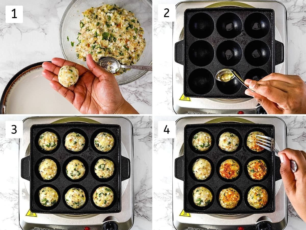 Collage of 4 steps showing shaping into ball, adding oil in the pan and cooking sabudana vada.