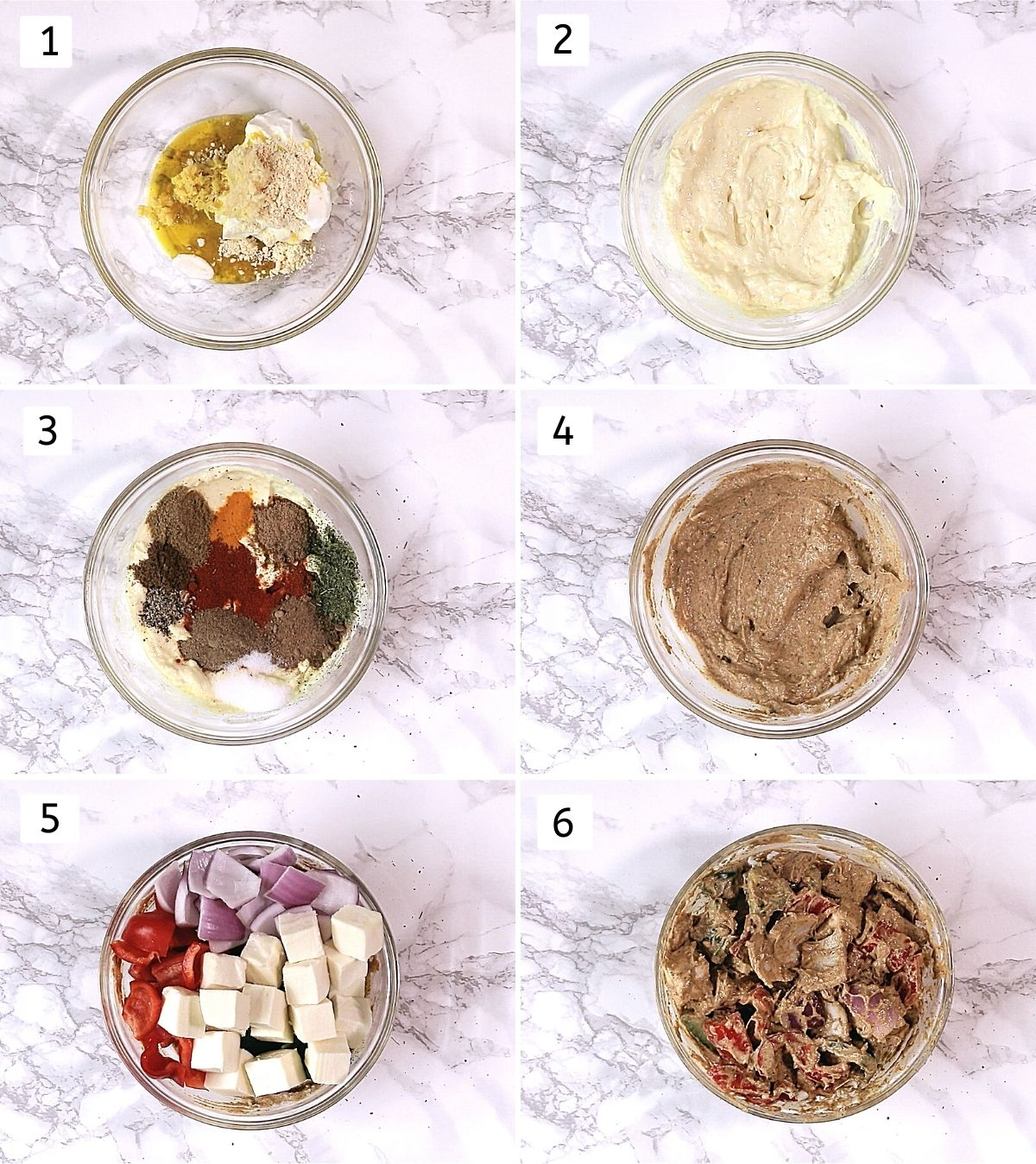 Collage of 6 steps showing greek yogurt, besan, oil in a bowl, mixed, added spices, mixed, added paneer and veggies, mixed