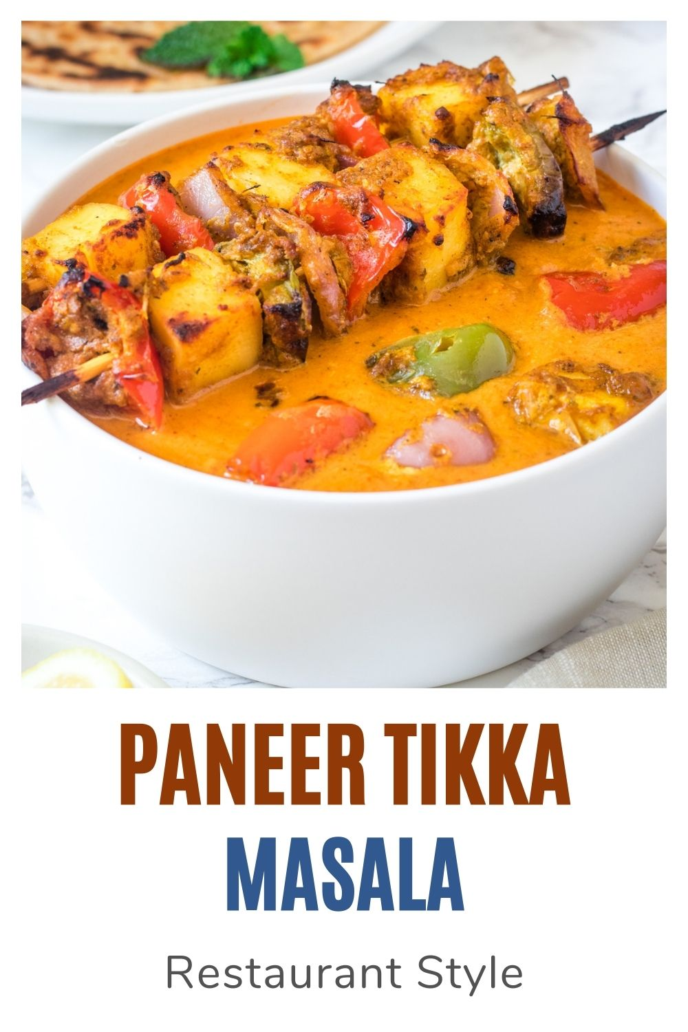 paneer tikka masala curry with text on the image for pinterest
