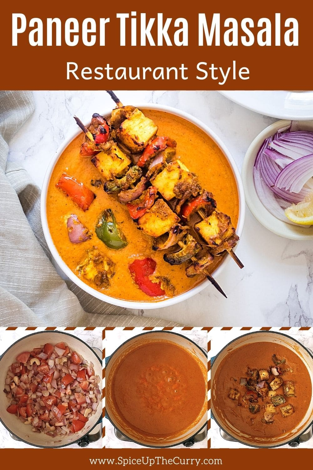 paneer tikka masala in a bowl with 3 steps pics at the bottom with text on the image for pinterest