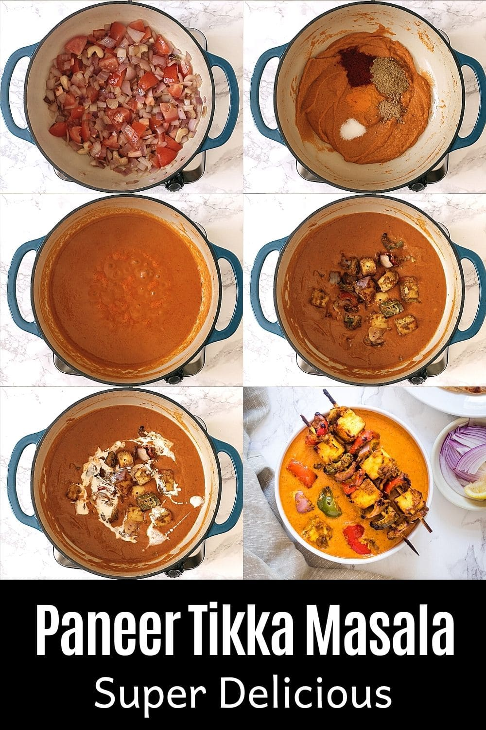 collage of 6 steps of making paneer tikka masala with text on the image for pinterest