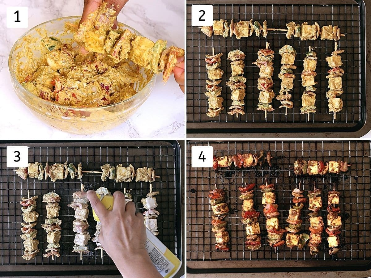 Collage of 4 steps showing arranging tikka on skewers, arrange on the baking tray, spraying with oil, cooked paneer tikka