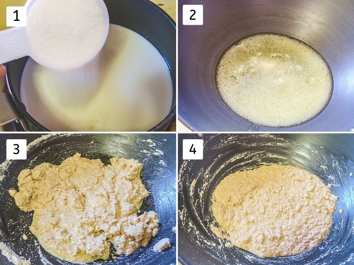 collage of 4 steps showing milk-sugar mixture, ghee in a pan, flour mixed with ghee, roasted flour.