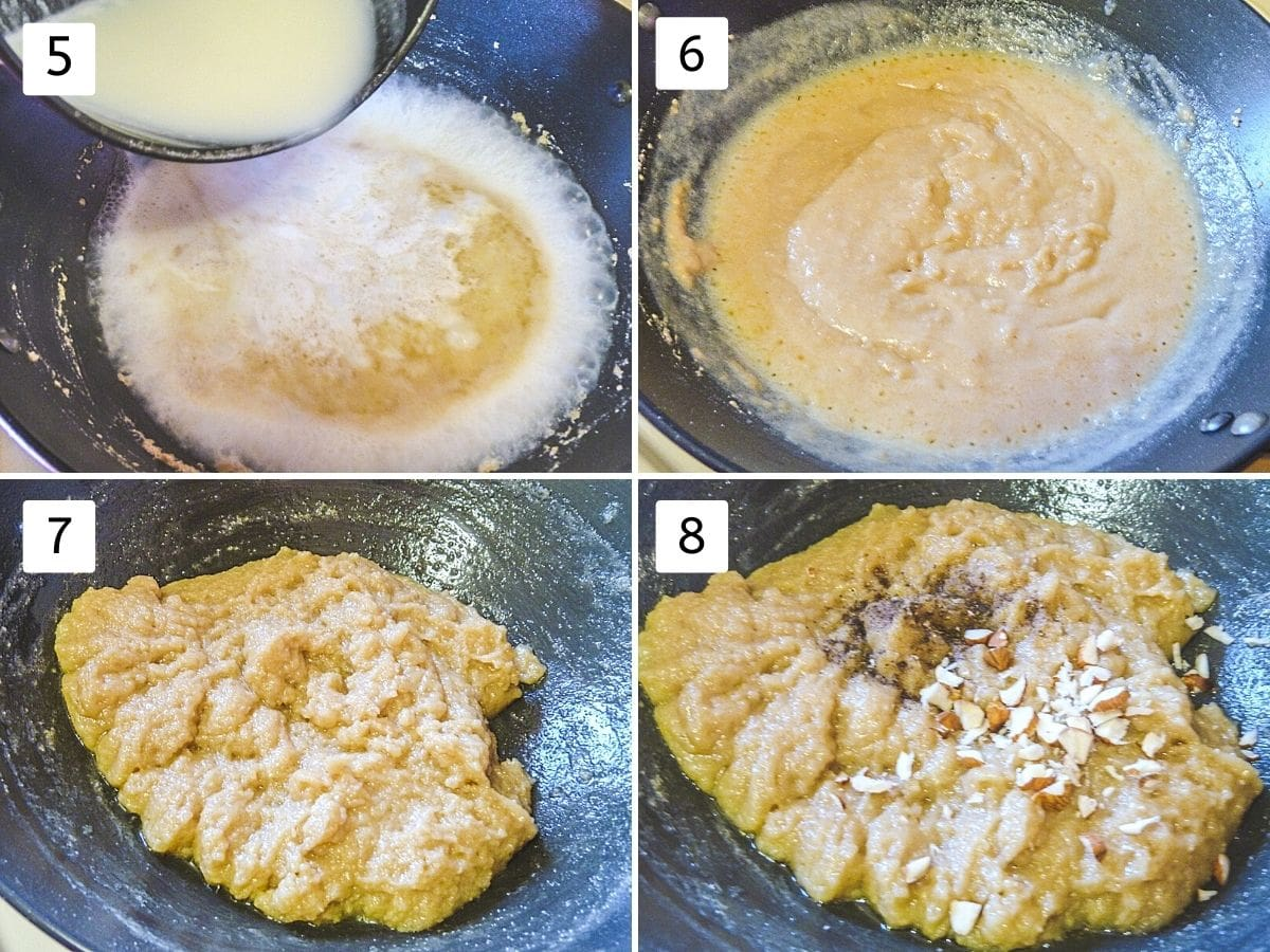 Collage of 4 steps showing adding milk-sugar mixture, mix well, cooked halwa, garnished with cardamom, almonds