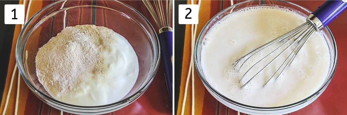 Collage of 2 images showing yogurt and flour in a bowl, mixed with water