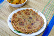 Stack of rajgira roti in a plate