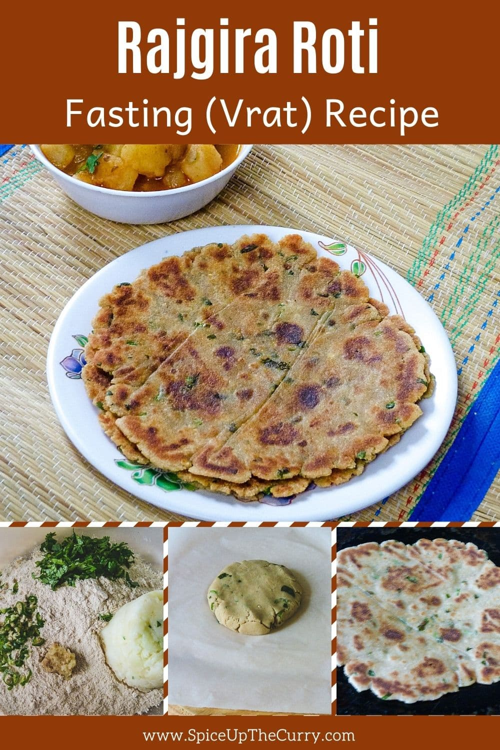 Rajgira parath in a plate with 3 collage of steps of making it with text on top of the image for pinterest