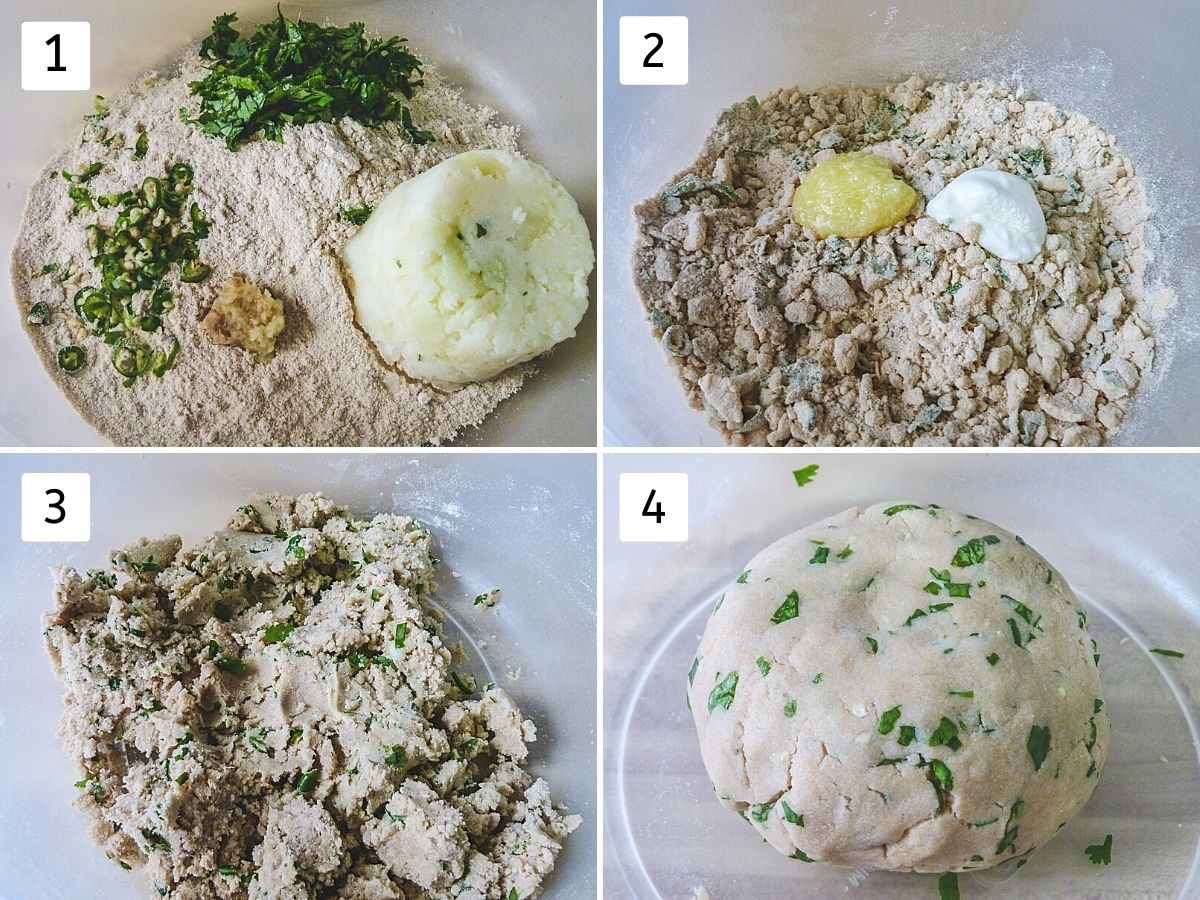Collage of 4 steps showing dough ingredients in a bowl, adding ghee and yogurt, mixing, making a dough ball.