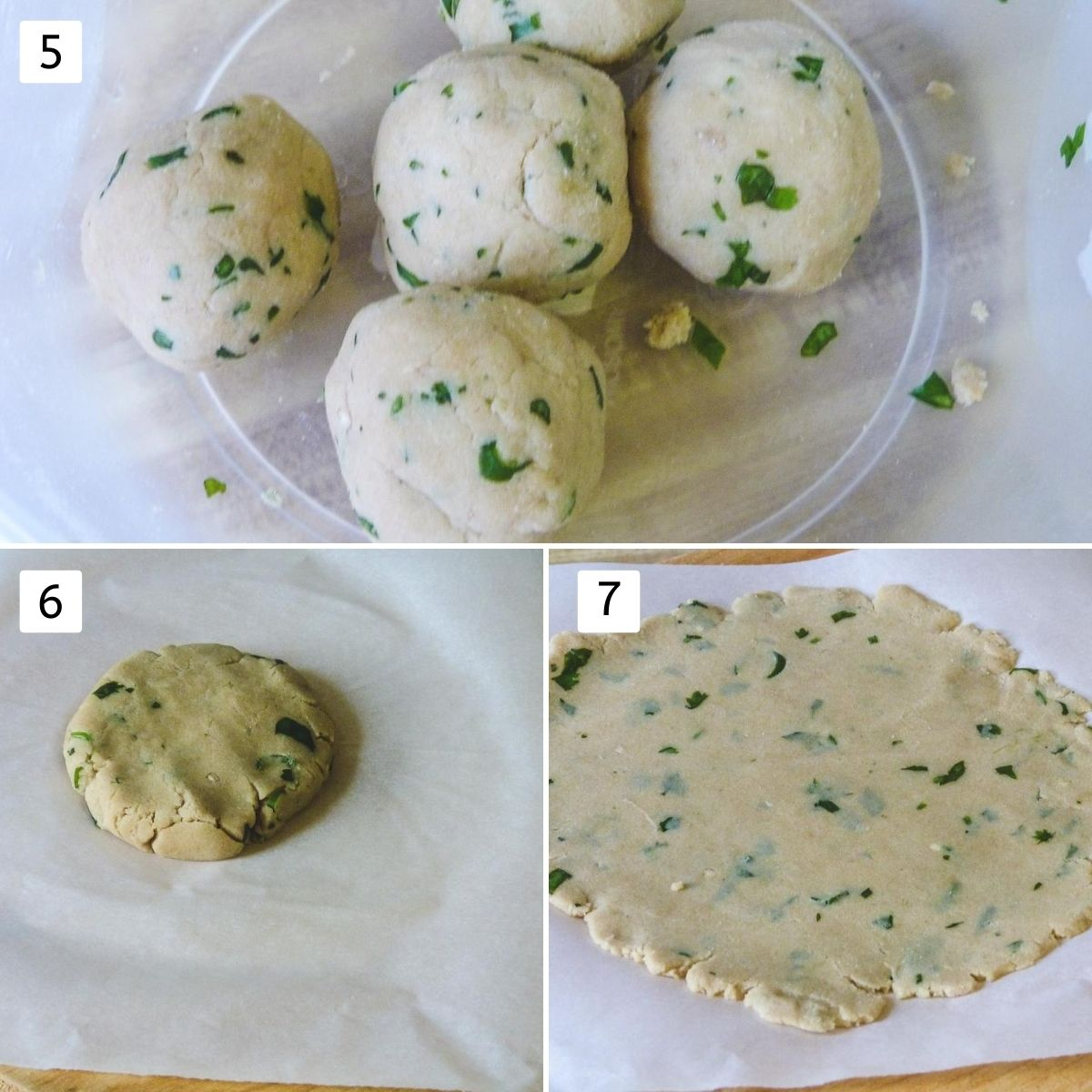Collage of 3 images showing 5 dough balls in a bowl, a small ball on parchment paper, rolled roti.