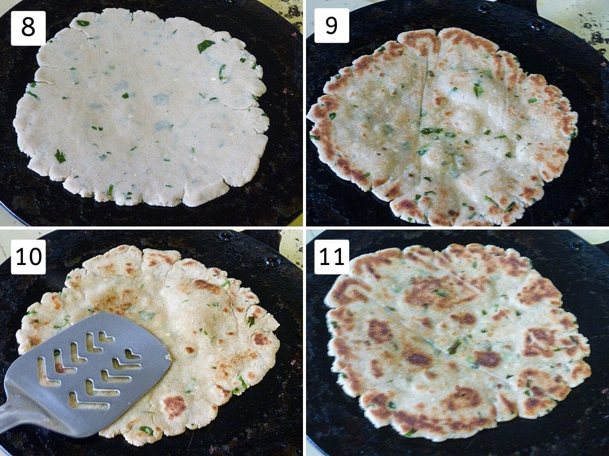 Collage of 4 steps showing paratha on tawa, flipped, pressing with spatula and ready rajgira paratha.