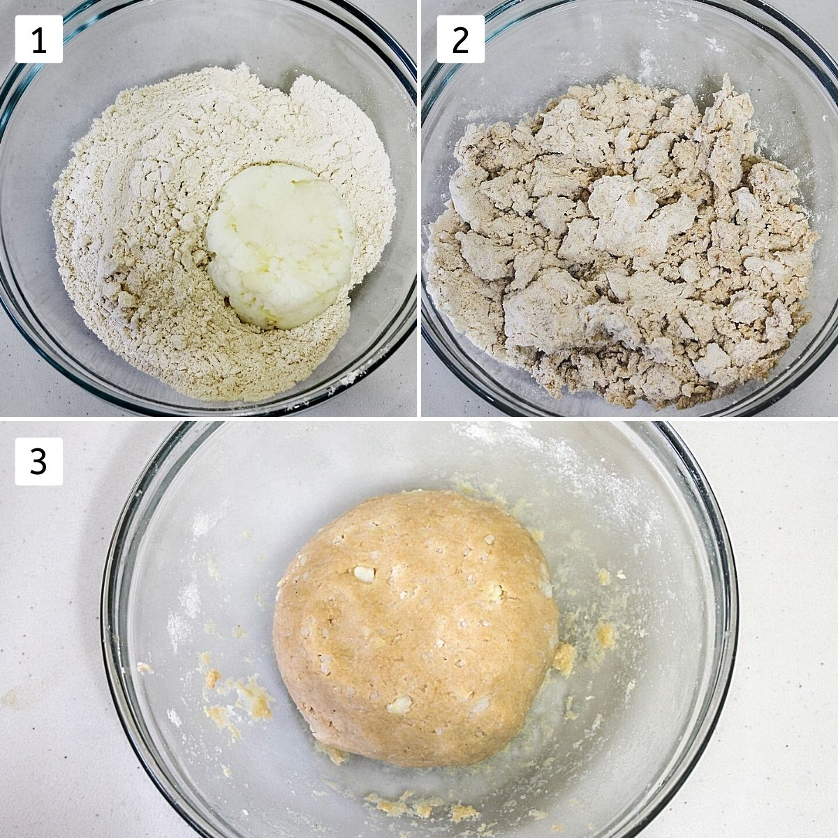 Collage of 3 steps shows flour and mashed potato in a bowl, mixed together and ready dough