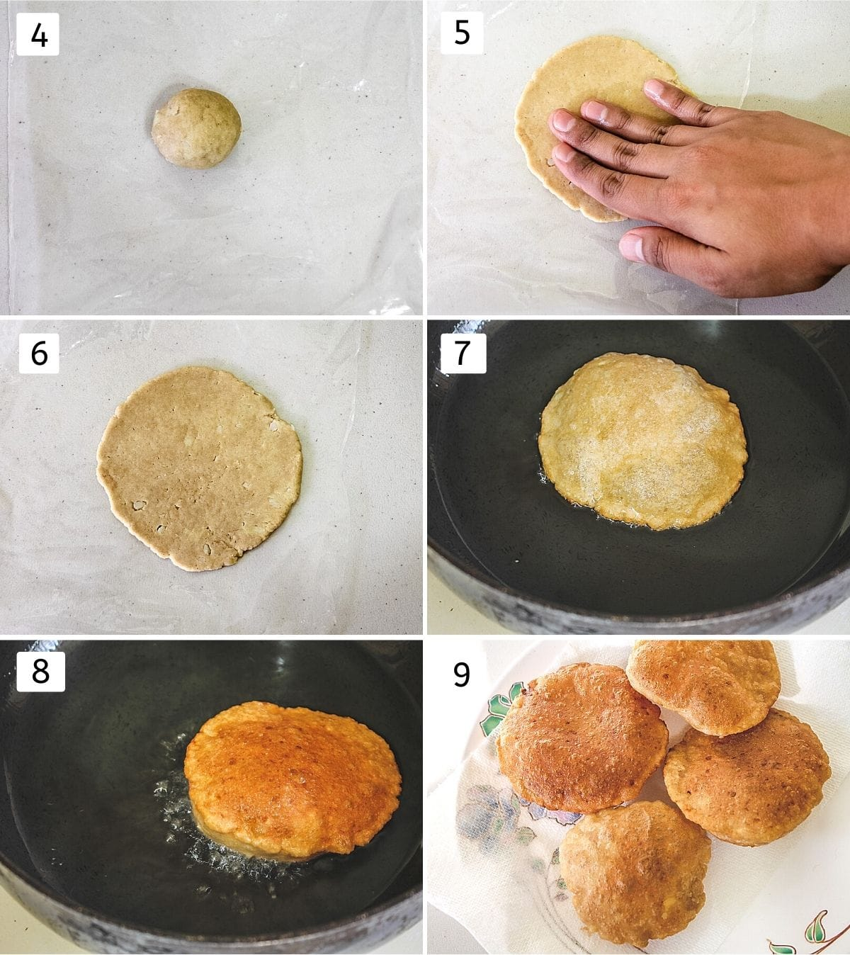 Collage of 6 steps showing small dough ball, patting by hand, rolled puri, added into the oil, flipped, fried puri in a plate
