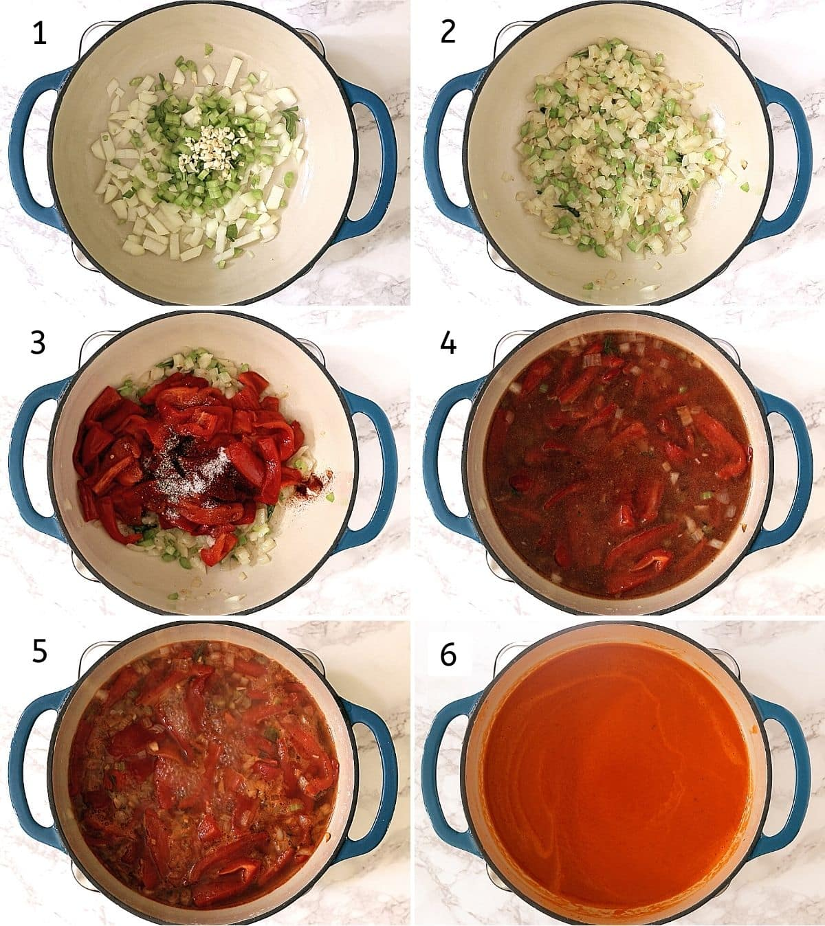 Collage of 6 steps showing adding onion, celery, garlic in oil, cooking, adding roasted peppers, spices, adding stock, simmering, blended soup.