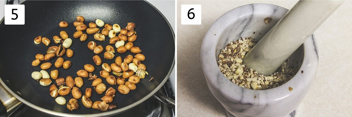 Collage of 2 steps showing roasting peanuts and crushing in mortar and pestle.
