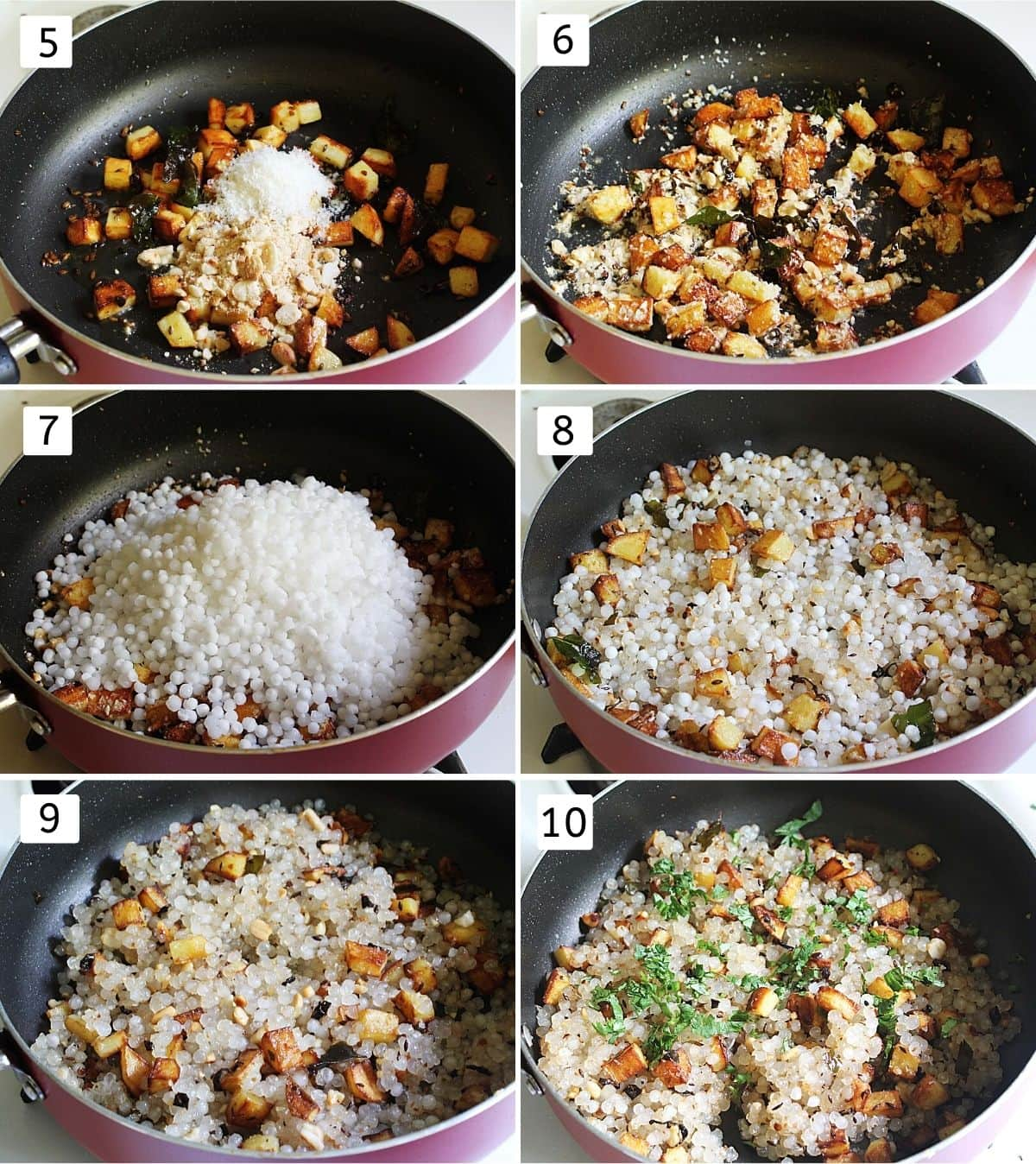 collage of 6 steps showing adding peanuts, coconut, mixing, adding sabudana, mixing, cooking, garnishing with cilantro.
