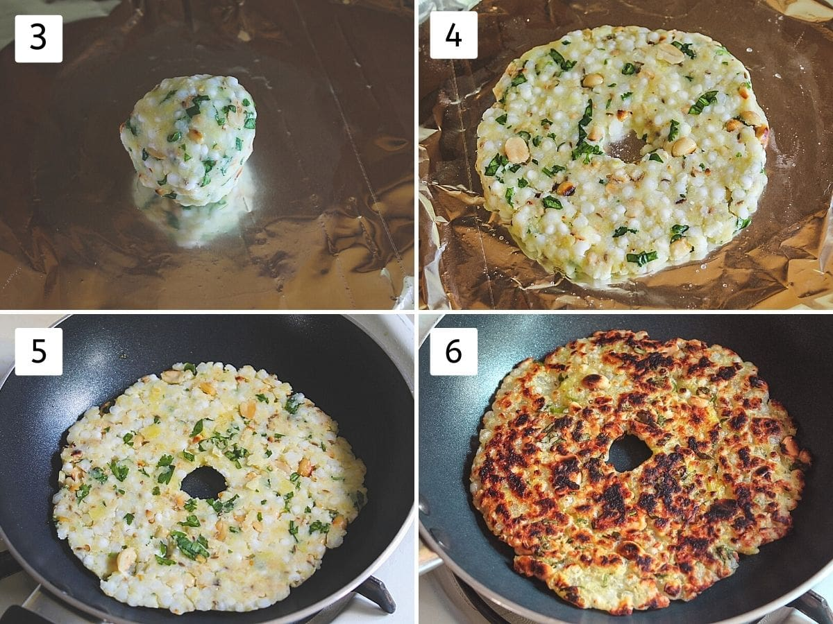 collage of 4 steps showing a small ball, shaped into circle, transfer to the hot pan and cooked thalipeeth