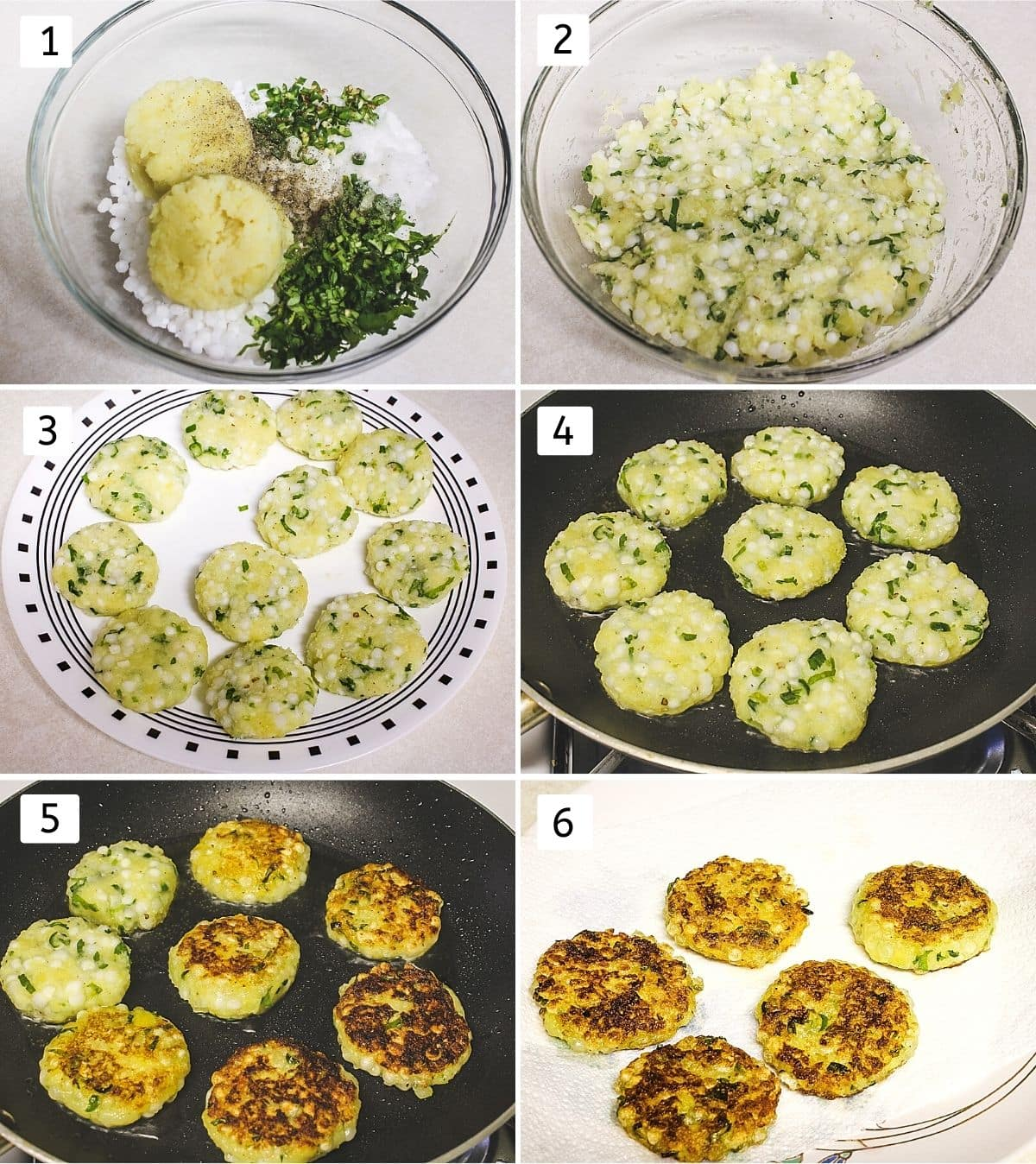 collage of 6 steps showing tikki ingredients in a bowl, mixed to a dough, shaped tikkis, frying, flipped, removed to a plate