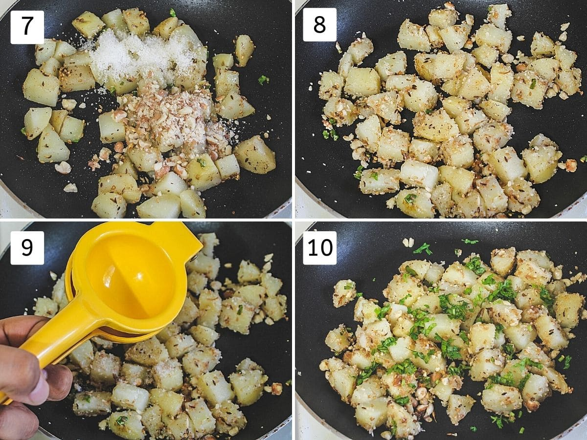 collage of 4 images showing adding peanuts, coconut, mixing, squeezing lemon and garnishing with cilantro