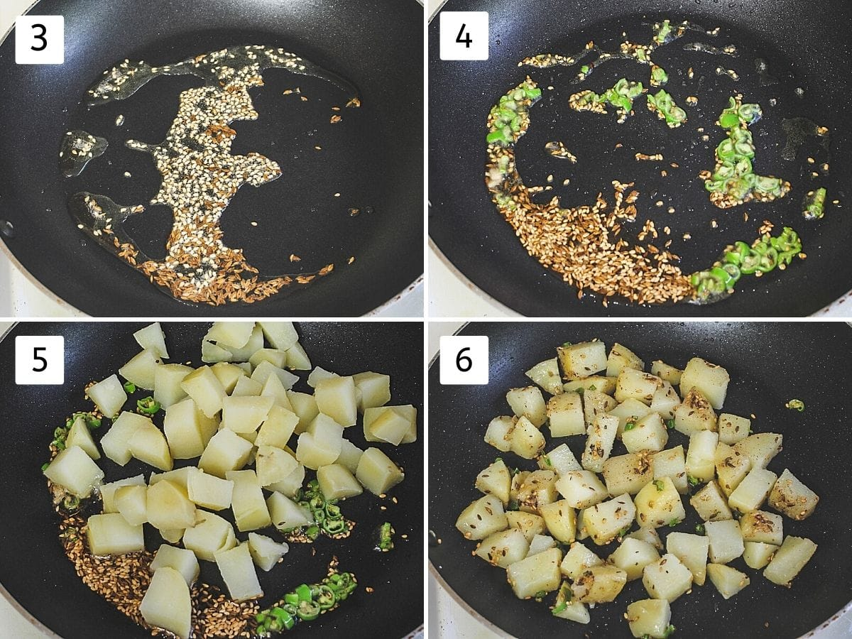 collage of 4 steps showing cumin and sesame seeds in the oil, adding green chilies, adding potatoes and mixing with spices, salt and sugar,