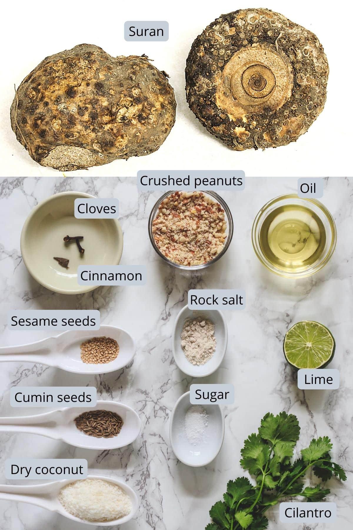ingredients used in suran khichdi includes suran, oil, cumin, sesame, peanuts, coconut, salt, sugar, lime, cilantro, cloves, cinnamon